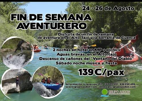 24 - 26 de Agosto - Aguas bravas y barranquismo acuático en el Alto Tajo y serranía de Cuenca.