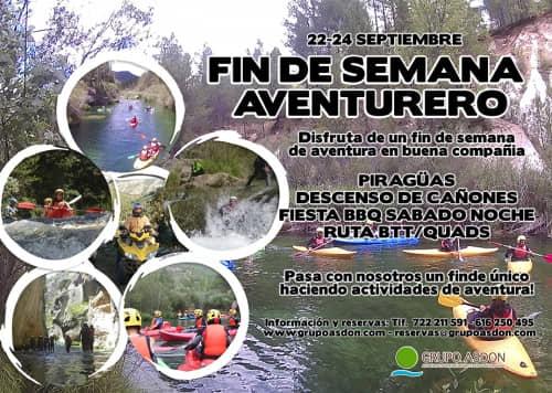 22 - 24 septiembre - Canorafting/kayak, barranquismo y fiesta BBQ en el alto Tajo.