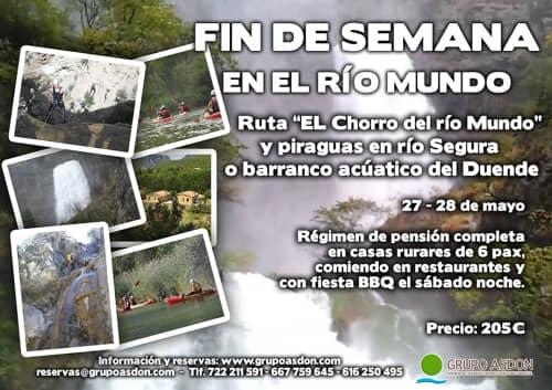 27 -28 Mayo - Senderismo río Mundo y piraguas/barrancos en el Segura.