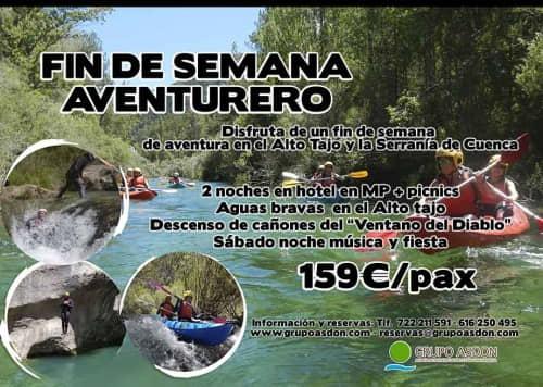 23 - 25 de Agosto - Aguas bravas y barranquismo acuático en el Alto Tajo y serranía de Cuenca.