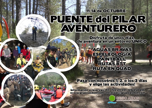 11 - 14 de Octubre Puente del Pilar - Aguas bravas, paintball, espeleologia, senderismo, ruta en btt... en el Alto Tajo.