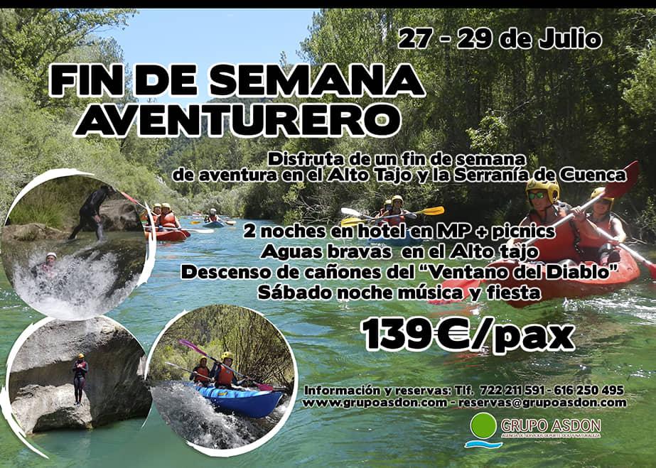 27 - 29 de Julio - Aguas bravas y barranquismo acuático en el Alto Tajo y serranía de Cuenca.