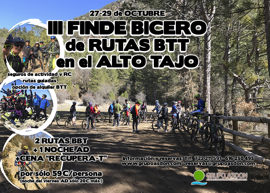 27 - 29 de Octubre de 2017 - Rutas en BTT en el Centro btt del Alto Tajo.