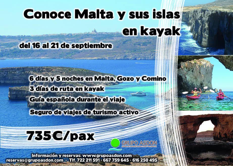 16 - 21 de septiembre - Descubre Malta, Gozo y Comino en kayak.
