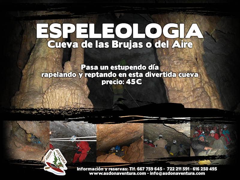 Espeleología en la cueva de las Brujas.