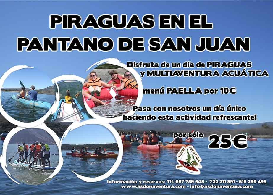 01 de Junio - Piraguas y multiaventura acuática en el Pantano de San Juan con Paella