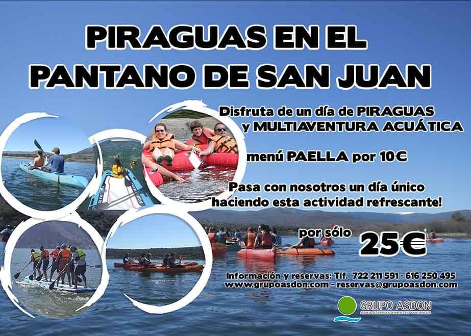 Piraguas y multiaventura acuática en el pantano de San Juan, paella